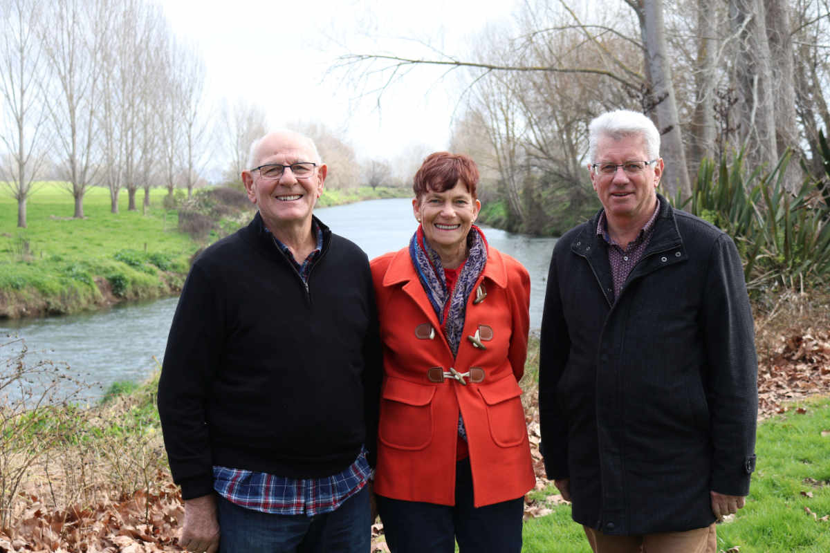 Paeroa Historical Maritime Park's Colin and Gloria James, left, with Hauraki District Mayor John Tregidga at the site of the Wharf St, Paeroa, development.