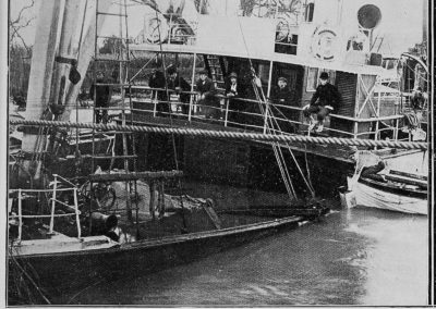 Sunk in the Paeroa River: the deck of the steamer, showing the extent of the submersion.